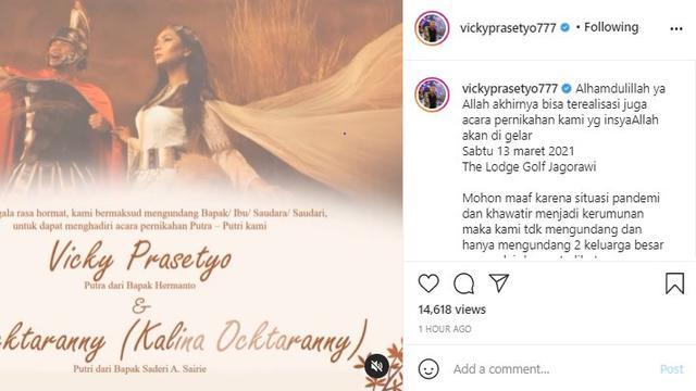 Vicky Prasetyo - Kalina Ocktaranny (Foto: Instagram/@vickyprasetyo777)