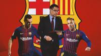 Barcelona - Thomas Vermaelen, Josep Maria Bartomeu, Arthur Melo (Bola.com/Adreanus Titus)