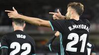 Selebrasi Borja Mayoral usai mencetak gol Real Madrid ke gawang Real Sociedad. (ANDER GILLENEA / AFP)