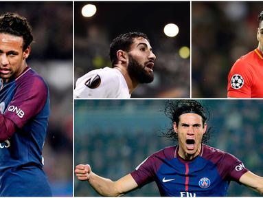 Berikut ini top scorer sementara Ligue 1 Prancis musim 2017/2018 hingga pekan ke-22, Edinson Cavani masih di posisi teratas. (Foto-foto Kolase dari AP dan AFP)