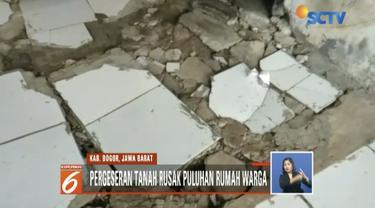 Puluhan rumah warga Kampung Wates, Kabupaten Bogor, rusak akibat tanah bergeser sepanjang 200 meter  dengan kedalaman 1-3 meter.