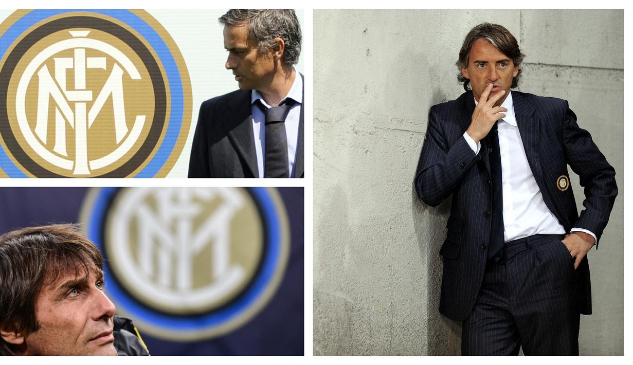 Foto kolase dari Jose Mourinho, Roberto Mancini, dan Antonio Conte yang pernah menangani Inter Milan hingga meraih gelar Scudetto. (Foto: AFP)