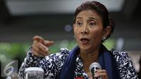 Menteri Kelautan dan Perikanan Susi Pudjiastuti saat memberikan keterangan pers (Liputan6.com/Faizal Fanani)
