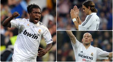 Real Madrid sebagai tim sukses di Eropa tidaklah sulit untuk mendatangkan pemain kelas dunia ke Santiago Bernabeu. Namun Los Blancos juga pernah melakukan transfer pemain yang bisa dikatakan cukup aneh. Berikut 5 transfer aneh yang pernah dilakukan Real Madrid. (kolase foto AFP)