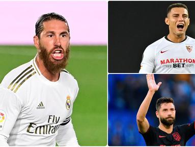 Performa Sergio Ramos bersama Real Madrid menjadikan dirinya sebagai salah satu bek terbaik di kompetisi Liga Spanyol. Selain Sergio Ramos, tercatat ada beberapa bek tangguh lainnya yang bermain apik di kompetisi Liga Spanyol. Berikut 5 bek tangguh di Liga Spanyol. (kolase foto AFP)
