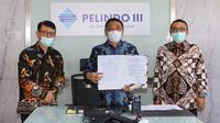 Direktur Utama Pelindo 3 Doso Agung bersama Kepala BKPM Bahlil Lahadalia dan Ketua HIPMI Mardani H Maming saat penandatanganan kerja sama proyek strategis yaitu Bali Maritime Tourism Hub (BMTH).