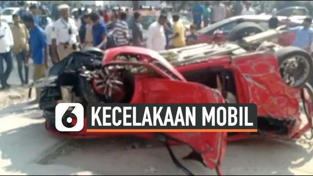 Rekaman mengerikan sebuah mobil jatuh dari jalan layang Biodiversity, India. Mobil tersebut diketahui melebihi batas kecepatan kendaraan.
