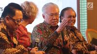 Menteri Perdagangan RI Enggartiasto Lukita saat memberikan penjelasan kepada media di Jakarta, Rabu (6/2). Pada 2018, Mayora tercatat telah mengekspor 1.000 kontainer Torabika Cappuccino. (Liputan6.com/Angga Yuniar)