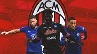 AC Milan - Olivier Giroud, Tiemoue Bakayoko, Hakim Ziyech (Bola.com/Adreanus Titus)