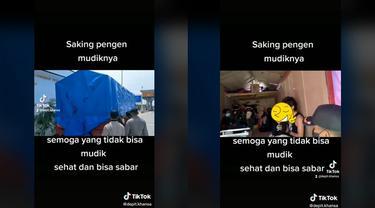 Viral, Pemudik Diciduk Petugas Usai Ketahuan Sembunyi di Dalam Truk Tertutup Terpal.