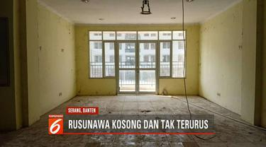 Rusunawa di Serang, Banten, yang dibangun Kementrian Perumahan Rakyat, rusak dan tak terurus.