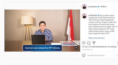 Menteri BUMN Erick Thohir melaporkan SPT Pajak 2020 melalui online. Instagram@@erickthohir