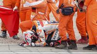 Balapan kali ini merupakan yang emosional bagi Marc Marquez, pasalnya sejak kembalinya Marquez di MotoGP musim ini dirinya belum sempat mencicipi podium setelah podium terakhirnya di tahun 2019. (Foto: AP/DPA/Jens Buettner)