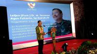 Pidato Menkes Terawan Agus Putranto usai serah terima jabatan (sertijab) di Kementerian Kesehatan, Jakarta pada Kamis malam (24/10/2019). (Liputan6.com/Fitri Haryanti Harsono)