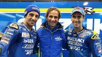 Duo Suzuki Ecstar, Andrea Iannone dan Alex Rins, mencatatkan prestasi terbaik sepanjang MotoGP 2017 di Sirkuit Motegi setelah finis di urutan keempat dan kelima. (Twitter/@suzukimotogp)