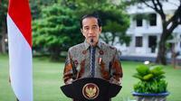 Presiden Joko Widodo (Jokowi) memberikan sambutan secara virtual pada Peringatan Dharma Santi Nasional Hari Suci Nyepi Tahun Baru Saka 1943, Sabtu (27/3/2021). (Biro Pers Sekretariat Presiden)