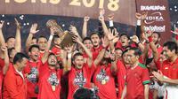 ersija Jakarta mengukuhkan diri sebagai pemenang Piala Presiden 2018 usai mengalahkan Bali United 3-0 di babak final yang digelar di Stadion Utama Gelora Bung Karno, Senayan, Jakarta, Sabtu (17/2/2018)
