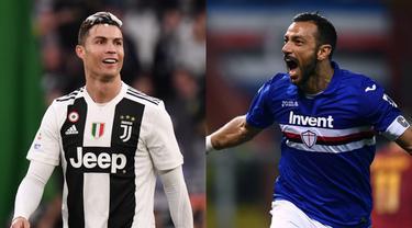 Tambahan satu gol Cristiano Ronaldo ke gawang Inter Milan belum mampu membawa CR7 ke posisi teratas pemuncak raihan gol di Serie A. Kini Ronaldo terpaut tiga gol dari pemuncak raihan gol saat ini, Fabio Quagliarella. (Kolase Foto AFP)