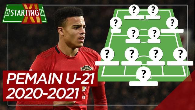 Berita motion grafis starting XI pemain U-21 paling berharga di Liga Inggris 2020-2021. Salah satunya pemain Manchester United,  Mason Greenwood.