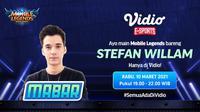 Live streaming mabar Mobile Legends bersama Stefan William, Rabu (10/2/2021) pukul 19.00 WIB dapat disaksikan melalui platform Vidio, laman Bola.com, dan Bola.net. (Dok. Vidio)