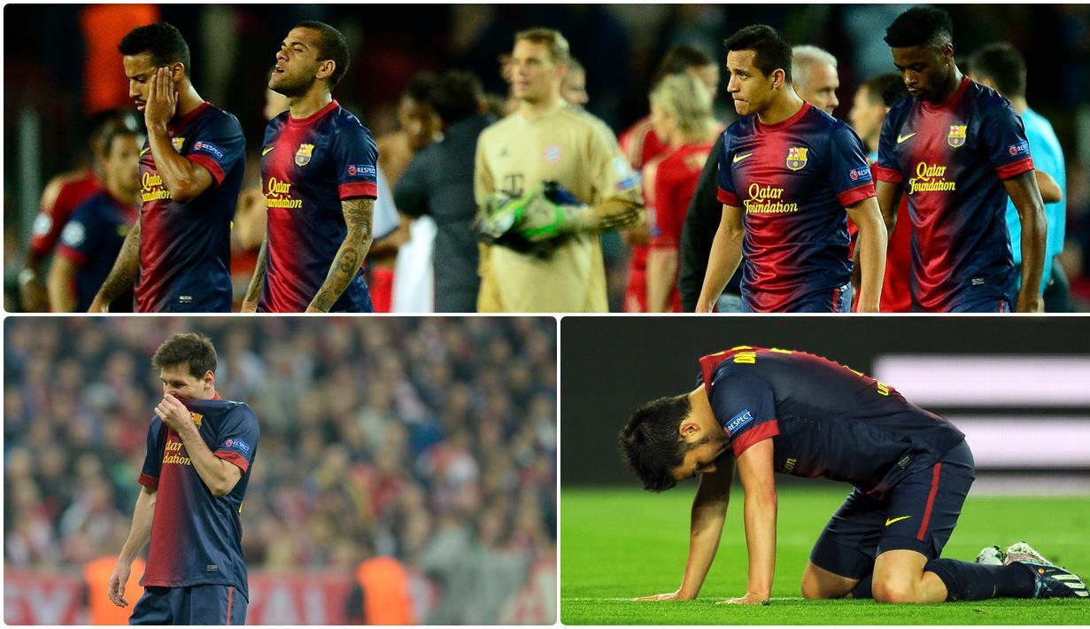Barcelona pernah merasakan kelahan telak hingga 7 gol tanpa balas oleh Bayern Munchen saat berlaga di kompetisi Liga Champions. Berikut momen pembantaian 7-0 Bayern Munchen atas Barcelona di Liga Champions 2012/13. (kolase foto AFP)