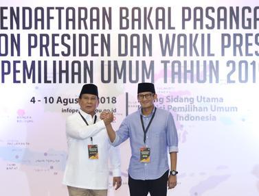 Prabowo dan Sandiaga Serahkan Berkas Pendaftaran Bakal Capres-Cawapres 2019