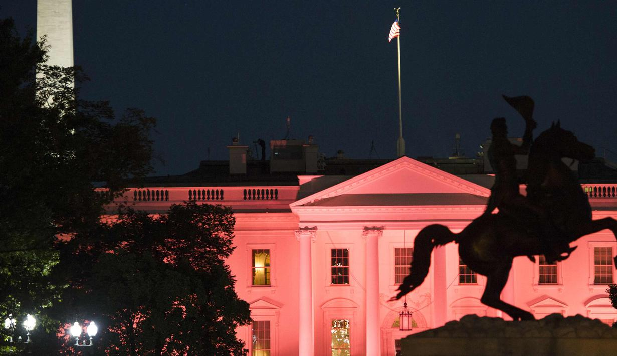 Patung Andrew Jackson terlihat dengan latar belakang Gedung Putih yang diterangi warna pink memperingati bulan kesadaran Kanker Payudara di Washington, DC, AS (1/10). (AFP Photo/Andrew Caballero Reynolds)