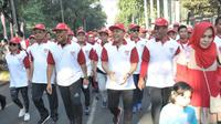 Ketua MPR Zulkifli Hasan mengikuti acara jalan sehat 4 pilar yang dilaksanakan pada hari Minggu, 27 Agustus 2017.