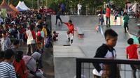 Seorang anak bermain Roller Skate di area Skate Park RPTRA Kalijodo, Jakarta, Minggu (30/12). Libur panjang jelang pergantian tahun dimanfaatkan warga untuk berlibur di kawasan RPTRA Kalijodo, Jakarta. (Liputan6.com/Helmi Fithriansyah)
