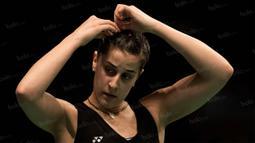 Carolina Marin yang merupakan unggulan pertama itu menang dua set langsung dengan angka 24-22 dan 21-14. (Bola.com/Vitalis Yogi Trisna)