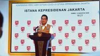 Juru Bicara Satgas COVID-19 Wiku Adisasmito sampaikan pada Selasa (11/8/2020), Presiden Jokowi meninjau fasilitas produksi vaksin Bio Farma di Bandung saat konferensi pers di Kantor Presiden Jakarta, Kamis (13/8/2020). (Dok Tim Komunikasi Satgas Nasional)