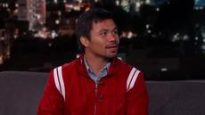 Pacquiao memamerkan olah vocalnya saat tampil di acara televisi Amerika Serikat.