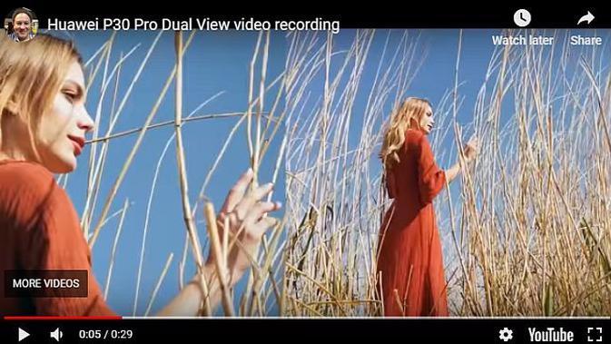 Dual view mode pada kamera Huawei P30 Pro (screenshot)
