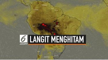 Hutan Amazon, Brazil, terbakar dan menghasilkan asap pekat hingga dapat terlihat dari luar angkasa.
