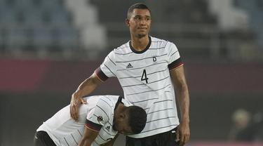 Timnas U-23 Jerman gagal melaju ke perempatfinal cabang sepak bola putra Olimpiade Tokyo 2020 setelah ditahan imbang 1-1 Pantai Gading di partai pamungkas Grup D, Rabu (28/7/2021). Pantai Gading mendampingi Brasil sebagai wakil Grup D yang lolos ke 8 Besar. (Foto: AP/Andre Penner)