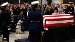 Sully, anjing mendiang George H.W. Bush duduk dekat peti mati Presiden AS ke-41 di Gedung Capitol, Washington, Senin (3/12). Sully diberikan kepada Bush sebagai hadiah pada Juni lalu setelah istrinya, Barbara, meninggal dunia. (AP/Patrick Semansky)