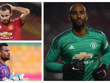 Dalam barisan pemain Manchester United musim ini terselip beberapa pemain yang sudah tidak lagi muda. Dengan usia di atas 30 tahun, kebanyakan dari mereka berstatus sebagai pemain pelapis atau pengganti. Berikut 5 pemain tertua yang dimiliki MU musim ini. (Kolase Foto AFP)