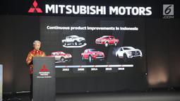 Program Director of Mitsubishi Motors Corporation (MMC) Koichi Namiki memberi paparan saat Mitsubishi Triton Tribute Night di Jakarta, Selasa (2/7/2019). MMC di Indonesia memperkenalkan New Triton sebagai model terbaru untuk pasar Indonesia. (Liputan6.com/HO/Yogi)