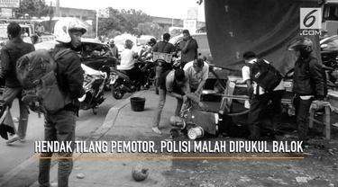 Aiptu Husni berniat menilang motor yang lawan arus di pertigaan Cimanggu, Bogor. Namun pengendara motor yang tak suka malah memukul dengan balok.