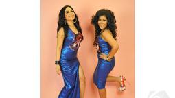 Dua komedian, Boiyen dan Melaney Ricardo, membuat duet vokal bernama Duo Marmut. Senin (2/6/14) (Liputan6.com/Panji Diksana)