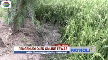 Pengemudi ojek daring ditemukan tewas di areal persawahan di Tegal, Jawa Tengah.