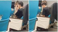 Viral Pasangan Suami Istri Ini Tunaikan Salat di Kereta. (Sumber: TikTok/ @manda_ghanosanim)