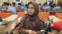 Plt Direktur Eksekutif ICT Watch, Widuri, ketika ditanya mengenai privasi data di internet di Kantor Kemkominfo, Jakarta, Senin (18/11/2019). (Liputan6.com/ Agustin Setyo W).