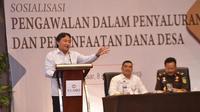 Kepala Biro Humas dan Kerjasama Kemendes PDTT dalam kegiatan Sosialisasi Pengawalan Penyaluran dan Pemanfaatan Dana Desa di Kota Makassar, Sulawesi Selatan, Selasa (9/4).
