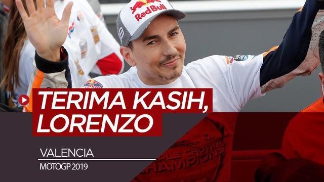 Berita video Jorge Lorenzo mengakhiri kariernya di MotoGP dengan finis di posisi ke-13, sedangkan rekannya, Marc Marquez, meraih gelar juara di Valencia, Minggu (17/11/2019).