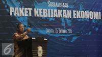 Menko Perekonomian Darmin Nasution saat sosialisasi paket kebijakan jilid IV di Gedung Menko Perekonomian, Jakarta,Kamis (15/10/2015). Darmin menilai paket kebijakan ekonomi pertama yang dirilis September lalu terlalu ambisius. (Liputan6.com/Angga Yuniar)