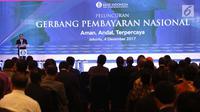 Gubernur BI Agus DW Martowardojo memberi sambutan dalam launching Gerbang Pembayaran Nasional (GPN) di Gedung BI, Jakarta, Senin (4/12). Sistem ini untuk menyatukan berbagai sistem pembayaran milik berbagai bank yang berbeda. (Liputan6.com/Angga Yuniar)