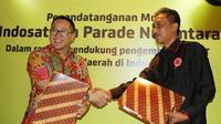 President Director dan CEO PT Indosat, Tbk Alexander Rusli dan Ketua Umum Parade Nusantara Sudir Santoso