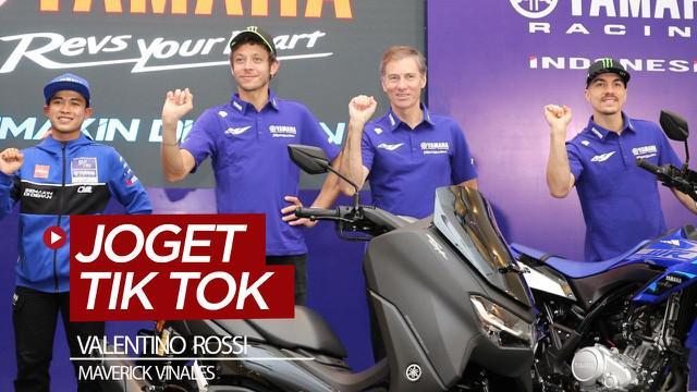 Berita video dua pembalap Monster Energy Yamaha, Valentino Rossi dan Maverick Vinales, mencoba joget Tik Tok dengan gaya goyang ubur-ubur saat hadir di Indonesia.