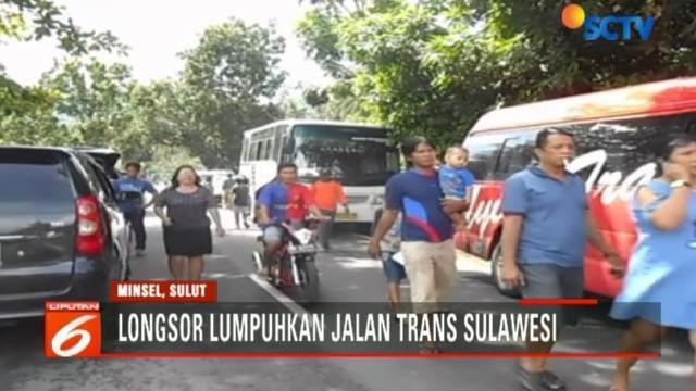 Longsor ini terjadi di Desa Blongko, Kecamatan Sinonsayang, Kabupaten Minahasa Selatan, Ssulawesi Utara.